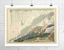 Worlds Largest Mountains and Rivers Antique Map Rolled Canvas Giclee 32x24 in.