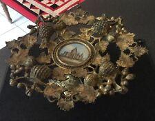 Recargado de latón antiguo victoriano Grand Tour Bronce tazza comportarse Eglomise St Pauls