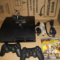 Sony Playstation 3 Slim  CECH-2501A 160GB Bundle 2 CONTR 1 Game PS3 EYE TESTED