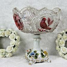 Bohemian Crystal art glass birds centerpiece coupe bowl capodimonte porcelain