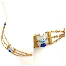 Vintage Vtg 1960s 60s Gold Chain Belt with Handblown Multicolored Beads