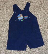 Toddler Boys Bib Shorts Romper Navy Blue Sailboat Dog Teddy Bear 18 Months EUC