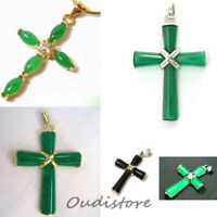 Ladies Natural Green/Black Jade Cross Lucky Pendant Necklace Jewelry For Gift