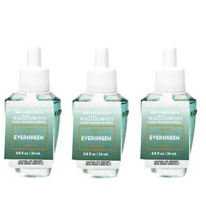 3-Pack Bath & Body Works EVERGREEN Fragrance Wallflowers Refills Bulbs 0.8 oz