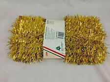 "Holiday Trims Gold Garland Tinsel 20' x 3"" Made in Usa"