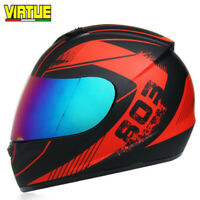 DOT Motorcycle Helmet Full Face Integrated Sun Visor Motocross Racing Red M/L/XL