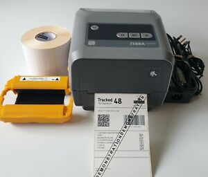 Zebra ZD420t Thermal Transfer Label Printer Ribbon 500 Labels Charger Cable 595