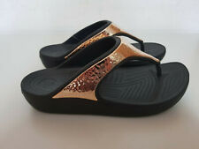 Crocs Sloane Hammered Met Flip Womens Sandals -Black Beach Summer Slip On Shoes