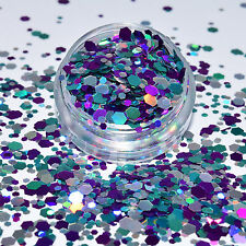 79,50€/100g Glittermix Pulver Pailletten Hexagon Glitzer Mix 2g Basteln! NEU