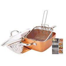 5 Pcs Cookware Set - Deep Square Casserole Pan, Fry Basket, Steam Rack,