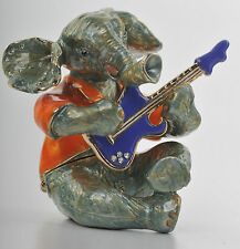 Elephant playing Guitar Trinket Box by Keren Kopal Faberge Egg Austrian Crystal