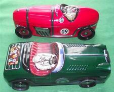 """Pr Lge 11"""" Vintage Style Racing Touring Cars Lithographed Tin Biscuit Caddy Box"""