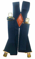 """2"""" Mens, Women's Plain Navy Blue 48"""" Suspenders. Made in USA Elastic and sf"""