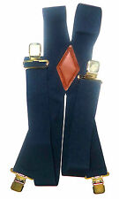 "2"" Mens, Women's Plain Navy Blue 48"" Suspenders. Made in USA Elastic and sf"