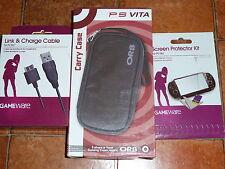 SONY PS VITA accesorio lote -! nuevo! CARCASA de la Consola Cargador USB Kit Protector de pantalla