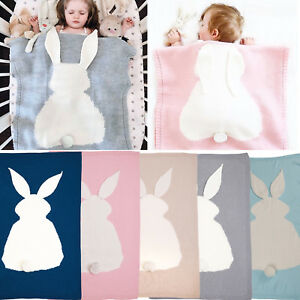 Newborn Baby Knitted Sleep Napping Blanket Cute Warm Rabbit Bedding Wrap Towels