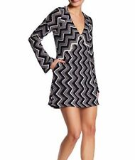 Free People Casual Chevron V-Neck Wool Blend Sweater Dress , Size Small-Black