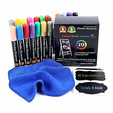 19 Liquid Chalk Markers (2Tips) Chalkboard Marker Blackboard Erasable Pens (USA)