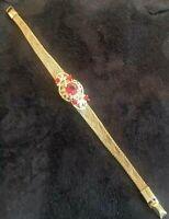 Vintage Red Rhinestone & Mesh Gold Tone Bracelet