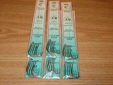 6 PKS - SIZE 3/0 SNELLED BAITHOLDER HOOKS BRONZE - 36 FISH HOOKS - DOLPHIN BRAND
