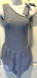 GK FIGURE SKATE EYELET EMBROIDER ADULT SMALL BLUE CREPE SLING STYLE DRESS AS NWT