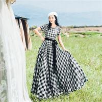 Vintage Elastic Chiffon Slim High Waist Plaid Harajuku Preppy Style Women Dress