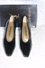 NIB Yves Saint Laurent Biba black patent leather shoe w/ Silver heel & sole - 8M