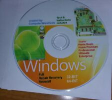 WINDOWS 7 32/64 bit  on 2 DvDs Recovery ReInstall Repair Disc Home & Pro Ent..