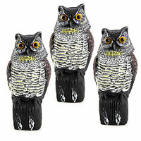 3 X Realistic Owl Decoy With Rotating Head Bird Pigeon Crow Scarer Scarecrow