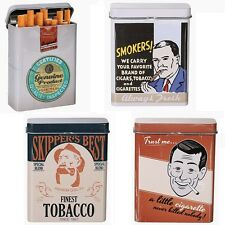 Metall-Zigarettenetui Zigarettendose Retro Smoking Zigarettenbox 9x7cm 4 Motive