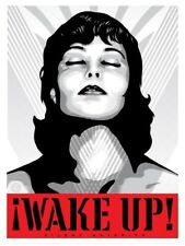 Shepard Fairey WAKE UP! White Silver print Obey Giant girl portrait peace woman