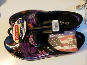 Sloggers Floral Collection Women's Rain and Garden Shoe Size 11 Purple USA made
