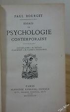 Paul BOUGET Essais de psychologie contemporaine. 1è ed Lemerre 1883 relié