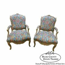 Interior Crafts Pair of Louis XV Style Fauteuil Carved Living Room Arm Chairs
