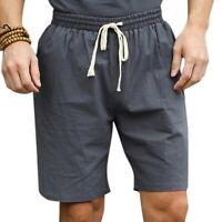 Summer Men Casual Drawstring Beach Shorts Linen Elastic Waistband Lounge Shorts