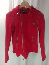 Pencey Standard Heather Red Hooded Moto Jacket Vest 80% Cotton, 20% Poly, XS
