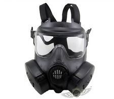 TACTICAL AIRSOFT PAINTBALL FULL FACE SKULL GAS DUAL FAN GAS MASK M50 BLACK
