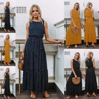 Women Polka Dot Long Maxi Dress Evening Party Cocktail Summer Beach Sundress