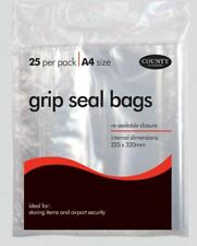 25 Grip Seal Bags Clear Poly Plastic Resealable Zip Lock A4 Size Protect Storage
