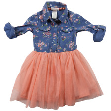 Little Lass Denim Blue & Pink Floral 3/4 Sleeve Dress Girls Size 2T