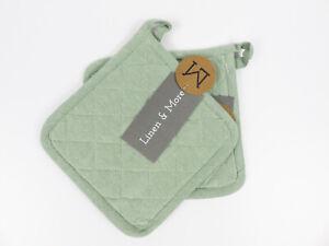 Linen & More 1 Set Topflappen gefüttert Muster Indi grün