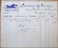 Southern Buggy Company 1900 Letterhead - Cincinnati, Ohio OH