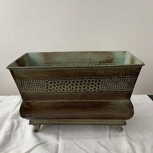 """Galvanized Tin Window Box 11"""" Wide 8"""" Tall Green Brown"""