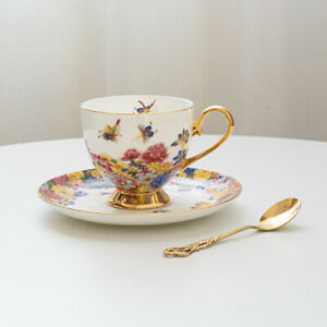 Ceramic coffee cup set palace style bone China afternoon tea cup W/ saucer&spoon