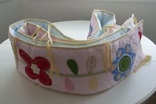 POTTERY BARN Baby Girl Crib Bumper Floral Garden Pattern Pink Yellow