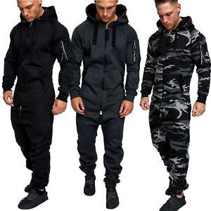 Herren Overall Jumpsuit Jogging Cargo-Style Onesie Sportanzug Camouflage 3006