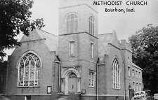 Bourbon Indiana Methodist Church Exterior Real Photo Antique Postcard K13703