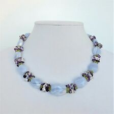 Ross Simons Necklace 925 Genuine Blue Lace Agate Peridot Amethyst Quartz Womens