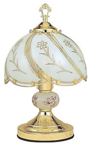 White glass floral 3 way touch table lamp gold finish base with ceramic ball
