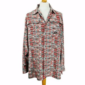 Fubu Limited Edition All Over Print Flags Button Down Shirt XL Red Grey 90s Y2K